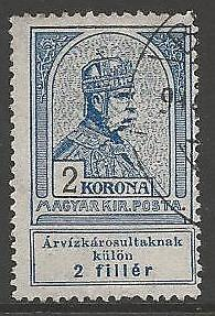 HUNGARY SG151 1913 2k+2f GREY-BLUE FINE USED