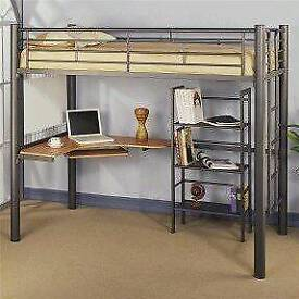 Bunk bed, work station and shelving