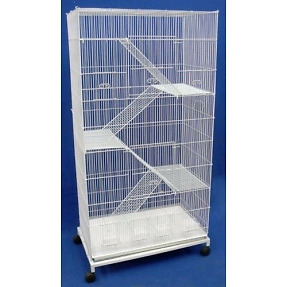 Large Bird or Critter Cage on Wheels, 4 Levels, 2 Doors (SPCA)