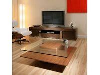 Walnut veneer and glass square coffee table