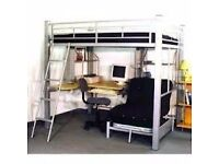 Loft bed with desk underneath.