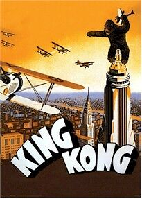 KING KONG 1933 MOVIE POSTER ~ BIPLANE ATTACK 24x36 Empire State Building NYC