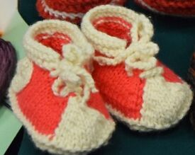 Creative handmade knitted booties different colors for babies