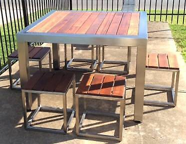 Stainless Steel Outdoor Table with 6 Stools Lonsdale Morphett Vale Area Preview