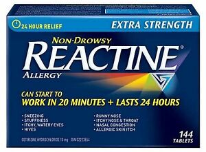 REACTINE® Extra Strength - 144 Tablets. Non Drowsy