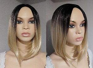 NEW WITH TAGS: Deluxe Black-Blonde Ombre Wig