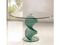 Solid twirl glass table