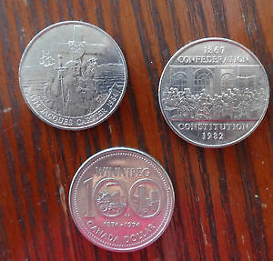 3 COMMEMORATIVE CANADIAN SILVER DOLLARS 72 82 84