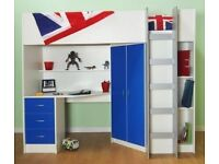 High sleeper cabin bed frame in blue and white, includes shelving, ladder, wardrobe, desk & drawers