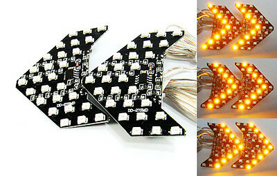 Amber Rear View 27 SMD LED Sequential Side Mirror Turn Signal Light Arrow Panel