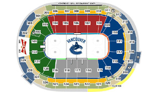 Club Seats – Centre Ice Canucks ½ Season at Cost