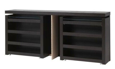 Ikea Malm Black Brown Double Headboard With Sliding Storage Units   Excellent Condition