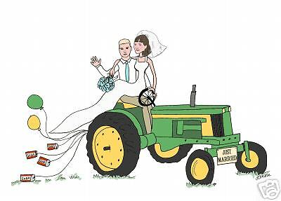 wedding cards Personalized gift tractor JUST MARRIED