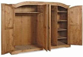 New Solid Corona Very Large Mexican pine 4 door large wardrobe