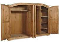 New Solid Corona Mexican Pine Massive Wardrobe with 4 doors Only £339 IN STOCK TODAY