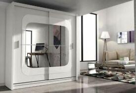 CASH ON DELIVERY-CLASSICAL DESIGN NEW CHELSEA 2 DOOR MIRROR BEDROOM WARDROBE-FAST DELIVERY