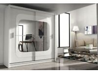 BRAND NEW GERMAN 2 DOOR SLIDING WARDROBE WITH CURVED HIGH GLOSS MIRRORS IN BLACK WHITE MATTE FINISH