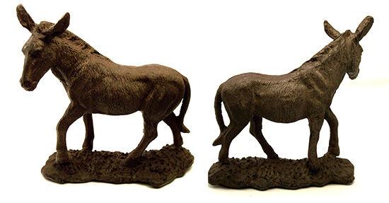 "Large CAST IRON Donkey/Mule Figurine  Rustic Brown 9 1/2"" x 10""  Missouri Mule"