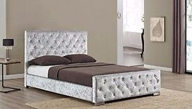 SINGLE DOUBLE AND KING SIZES AVAILABLE ** CHESTERFIELD CRUSHED VELVET BED**--BLACK CREAM & SILVER