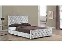 💛💛LATEST DESIGN💛💛 CHESTERFIELD CRUSHED VELVET BED FRAME SILVER, BLACK AND CREAM COLORS