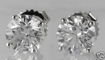 20.14 ct GIA F VS1 round diamond solitaire stud earrings platinum screw backs