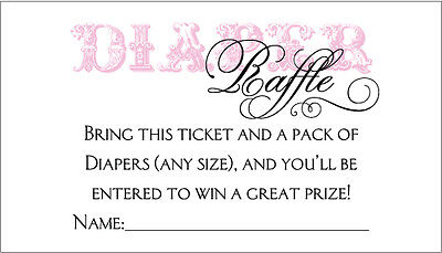 20 Diaper Raffle Tickets - Girl Baby Shower Invitation Insert - Baby Shower Diaper Raffle