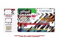 FREE GIFFGAFF 4G Sim Card Free £5 credit included UK Overseas 3 in 1 Triple Cut Sim