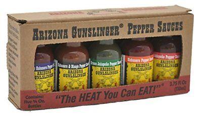 Arizona Gunslinger Hot Pepper Sauce Mini 5 Pack Variety 3/4 oz bottles 3 Pack Hot Sauce