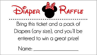 20 Diaper Raffle Tickets - Red and Black Minnie Mouse Baby Shower (Red Minnie Mouse Invitations)