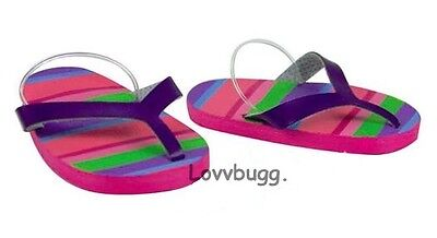 """Pink Multi Stripes Flip Flops for 18"""" American Girl or Bitty Baby Doll Shoes"""