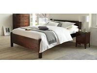 Nearly New Warren Evans Solid Wood Double Bed w Deep Storage Drawers in Black Satin