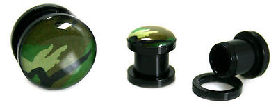 Pair Acrylic Black Green Screw Tunnel Ear Plugs-gauges-Piercings Camo Camouflage