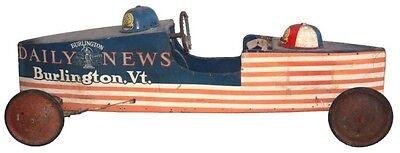 Photo SOAP BOX DERBY CAR FOLK ART DAILY NEWS BURLINGTON VERMONT TWO HELMETS C-1954