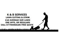 k & b services lawn mowing strimming & tidying