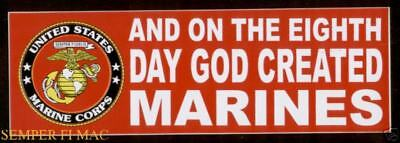 ON THE 8TH DAY GOD CREATED US MARINES BUMPER STICKER DECAL ZAP PIN UP VETERAN (On The 8th Day God Created Marines)