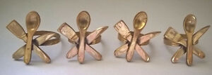 Vintage Solid Brass Silverware Napkin Ring Holders,
