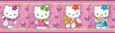 Hello Kitty Bordüre SELBSKLEBEND Tapete Kinder Zimmer Sticker Katze rosa Poster