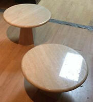 TWO TRAVATINE COFFEE TABLES