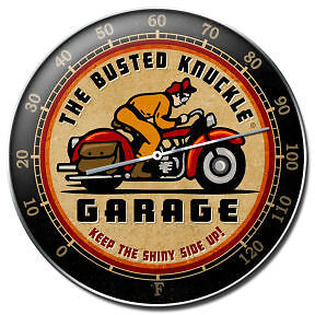 Busted Knuckle Garage Round Vintage Motorcycle Thermometer
