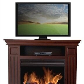 38 inch tv stand with electric fireplace heater in brown. Black Bedroom Furniture Sets. Home Design Ideas