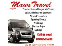 MINIBUS TRAVEL - HIRE - Maws Travel Sheffield - 07432565280 -