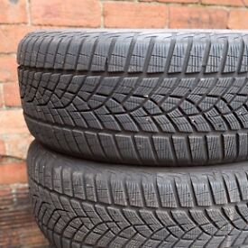 Premium quality Goodyear winter tyres. 225/55 R17. Set of 4.