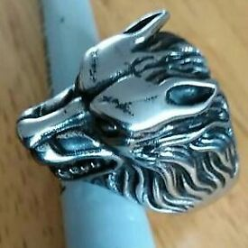 stainless steel wolf ring uk size z+1