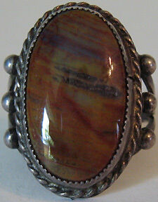 vintage navajo indian silver petrified wood ring ebay