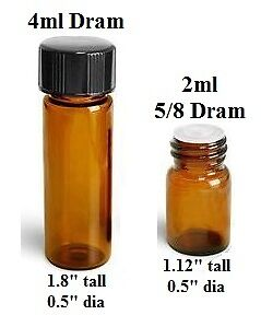 New Empty Amber Glass Bottle Lots for Essential Oil 2ml 4ml 15ml 30ml oz dram
