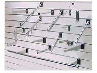 Chrome finished Metal Slatwall Displays and Fittings - Brand New - various types - Collection Only