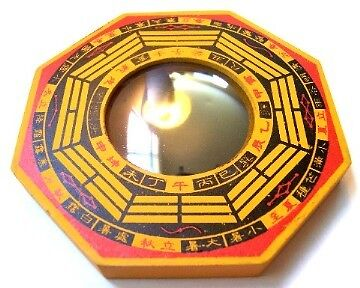 "4"" Thick Wood Feng Shui Convex Bagua Mirror"