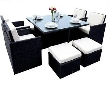 Brand new 9PCS outdoor dining set in Black with grey cushions