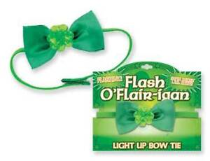 St. Patricks Day Green FLASHING Light Up Bow Tie NEW!! L.E.D. Lights