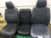 LAND ROVER DEFENDER 90 FRONT SEATS (3) GREY. EXMOOR.TRIM, DENIM TWILL VINYL